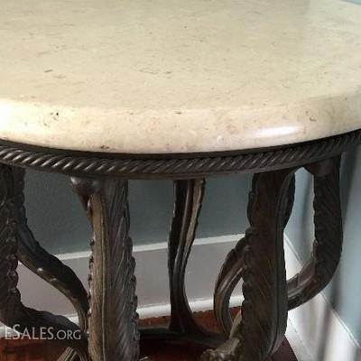JOB 10.16 DR 013 White stone & Iron side round table
