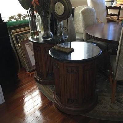 Job 10.16 DR 010 Marble topped Drum Table 1 of 2