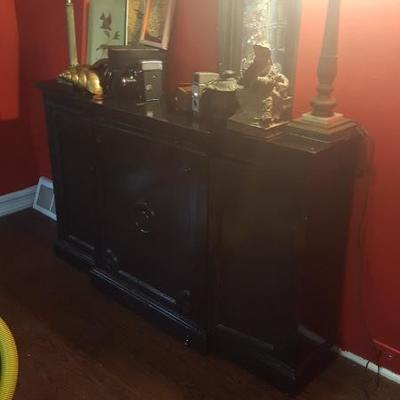 Asian Influence Artifacts and Lacquered Antique Console