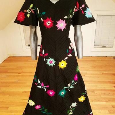 1e32b55ddd Vtg Rare Mexican 1950 Maxi Fiesta dress hand embroidered metal zip ...