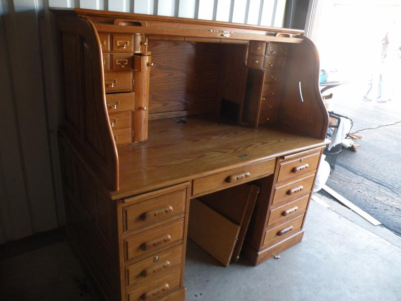 Cool Lot 21 Solid Oak Roll Top Desk Estatesales Org Interior Design Ideas Clesiryabchikinfo