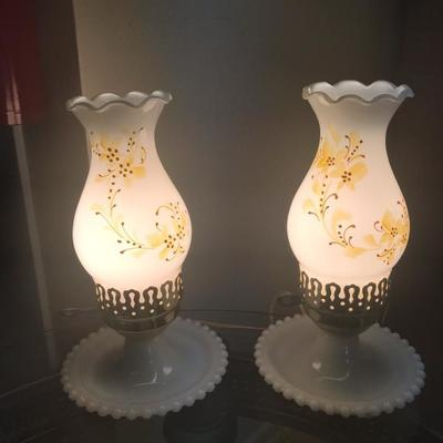 Pair of Hobnob Lamps with Yellow Flowers (Item #107)