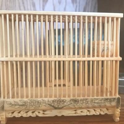 Ivory-like Miniature Cricket Cage (Item #700)