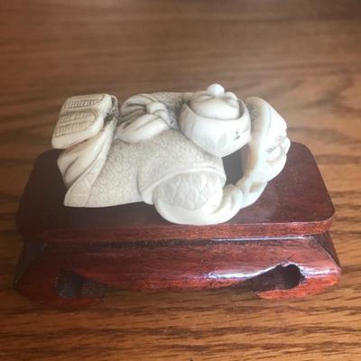 Ivory-like (bone?) Asian Figurine w/ Stand (Item #702)