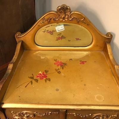 Lot 3-Antique Victorian Gilt and Scenic Painted Music Cabinet