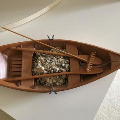 Lot 4-Office Shelf Lot- Model Boat by Nelson Plaisanc and Boat Print