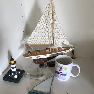 Lot 10-Office Shelf Lot of Nautical Items