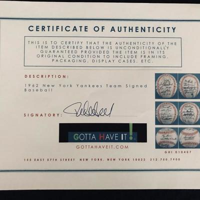 1962 NY Yankees Team Signed Baseball with Certificate of Authenticity