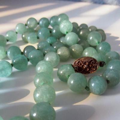 Adventurine Bead Necklace | 28 inches | Silver Clasp
