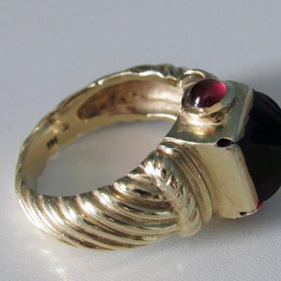 Amethyst, Garnets and 14K Gold Ring | Size 8
