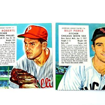 1953 Red Man Tobacco Baseball Cards Robin Roberts 11 Billy Pierce 16 Hof Estatesalesorg