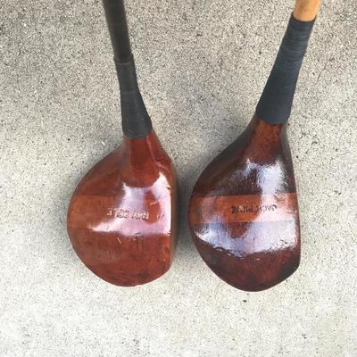 Old wooden golf clubs
