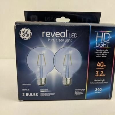 GE 2 Boxes, Reveal LED 2 Bulbs, Pure, Clean Light - New | EstateSales org