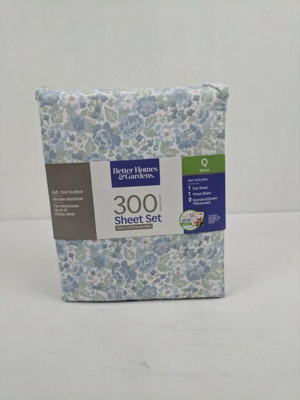 Queen 3 PC Sheet Set, 300 Thread Count, Blue Floral, Better Homes & Gardens - New