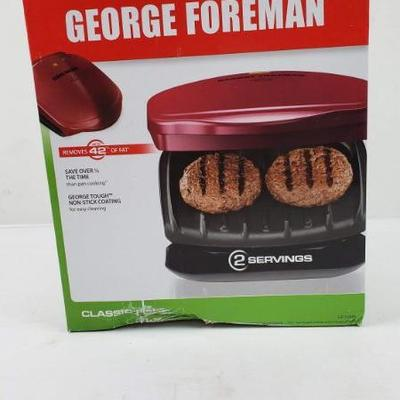 Red George Foreman Grill, 2 Servings, Classic Plate, Box Damage - New