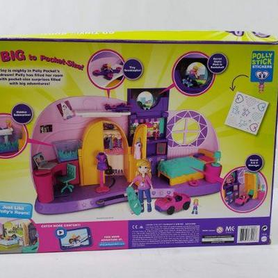 Polly Pocket Go Tiny! Room, Ages 4+, W/Polly Stickers, Box Damaged - New