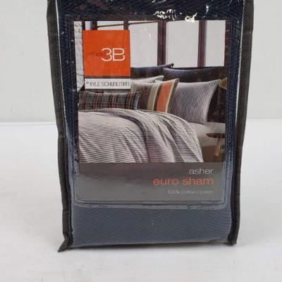 Navy Euro Sham, Asher, Fits 26x26 Pillow - New