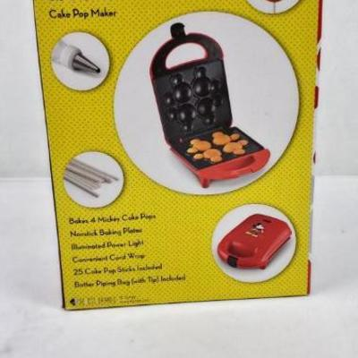Mickey Mouse Cake Pop Maker, Disney, 25 Cake Pop Sticks Included - New