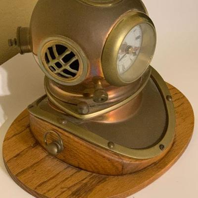 Vintage Quartz Copper Brass Diving Helmet Clock on Oak Base