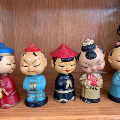 Set of 5 Asian Bobble Heads