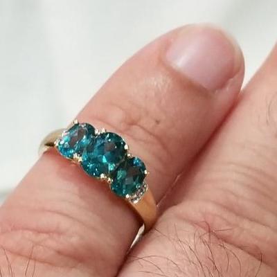 14k Blue Topaz diamond ring. Inv# 6