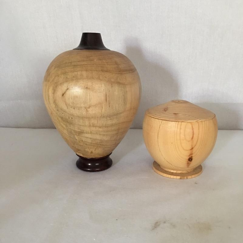 """Lovely handmade wooden bowls, cups and other pieces. Includes two books about Wood Bowls. Likely made by the homeowner but we can not verify. Largest bowl measures 10""""D.  Shipping Available"""