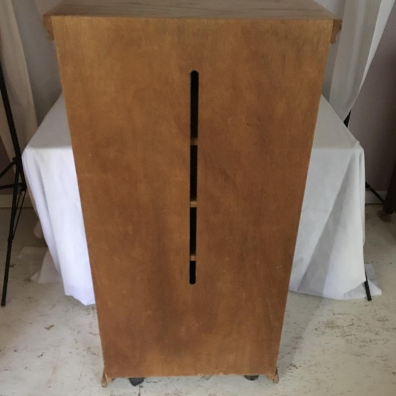 """Handsome wooden cabinet with glass inserts on top doors. Cabinet has four shelves with top shelf on slides. Will need to go down small flight of stairs to move out of home. Cabinet measures 16.75"""" x 25.25"""" x 50"""".  Local Pickup Only"""