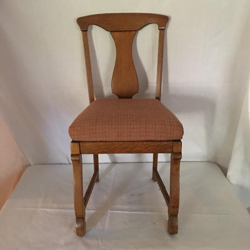 """Four beautiful antique chairs. One chair is missing brace that goes across legs- see pictures. A Beautiful set of chairs to update your dining area. Use as is or change the fabric! Chairs measure 17.25"""" x 18.5"""" x 36"""". Seat height 21"""".  Local Pickup Only"""