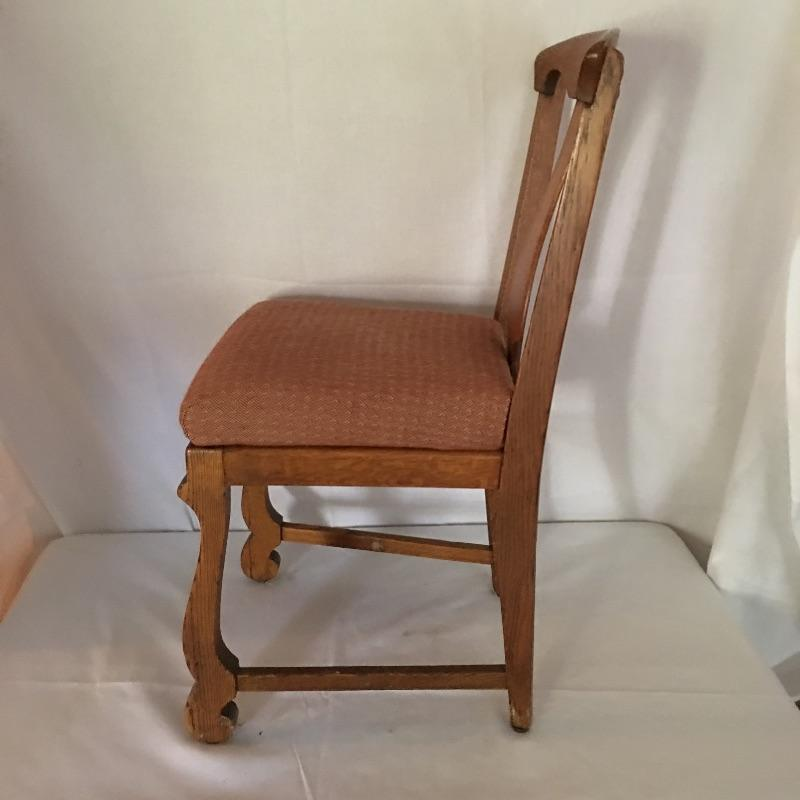 "Four beautiful antique chairs. One chair is missing brace that goes across legs- see pictures. A Beautiful set of chairs to update your dining area. Use as is or change the fabric! Chairs measure 17.25"" x 18.5"" x 36"". Seat height 21"".  Local Pickup Only"