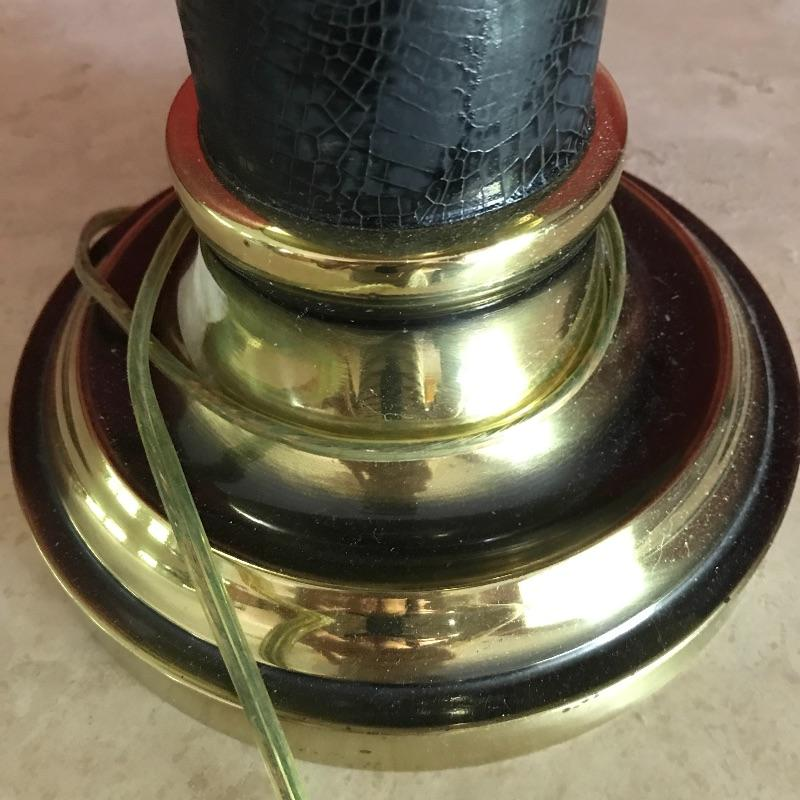 """Brass bankers lamp and heavy table lamp. Light up your life and your home with this elegant  pair of lamps. Black lamp has snake like material on black part. It's Heavy brass that measures 26"""" tall.  Local Pickup Only"""