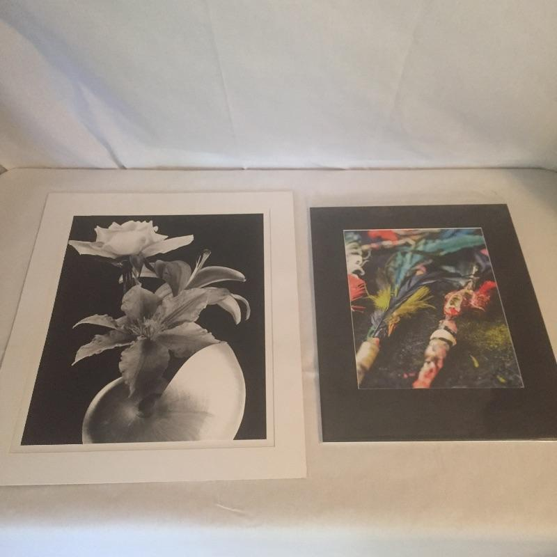 """Two unique photographs that are both matted and ready for frame.. The larger of the two is a black and white floral photograph of flowers and a seashell by Stephen Stoneberg himself. The second is titled 'Handmade Tattoo Guns' by P. Kennedy and is signed and from the Asheville Tattoo Fest. Larger of the 2 measures - 20"""" x 24"""". Shipping Available."""