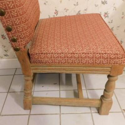 Set Of 6 Wood Framed Upholstered Chairs with Brass Button Accents