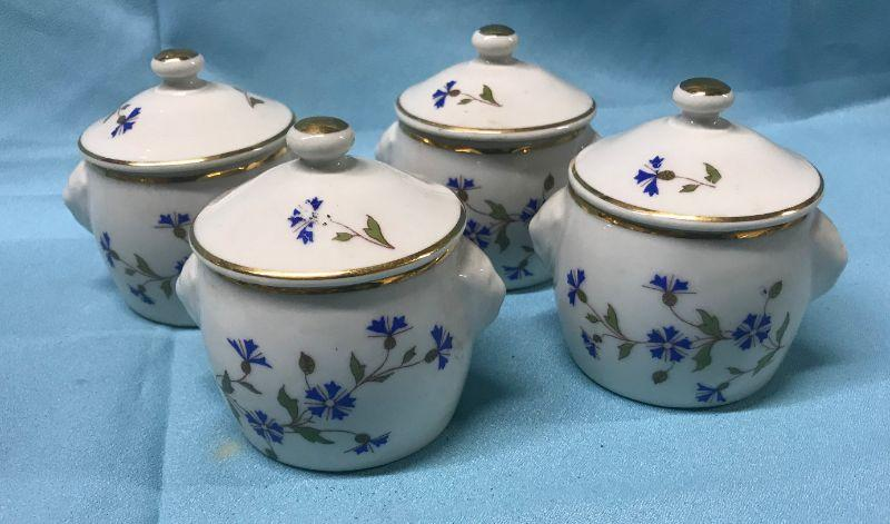 """4 old new stock Apilco Blue & White Pots de Creme with lids and Lion Head Handles, 3"""" tall to top of lid, France. Extra lid included. They are in excellent condition. All items SOLD AS IS, AS SHOWN and subject to reserve bid. Unsold and Unpaid items will be relisted. Items can be picked up on Wednesday June 5th between 5-7 PM. We can ship small items. For items we do not ship, Buyer can use commercial shipper (UPS, Fedex, etc) Pack and Ship services and we will work with them."""