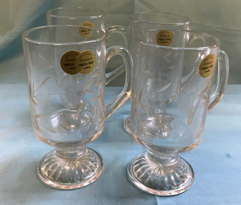 Lot of 4 vintage crystal mugs with original stickers. Tempered glass made in France. All items SOLD AS IS, AS SHOWN and subject to reserve bid. Unsold and Unpaid items will be relisted. Items can be picked up on Wednesday June 5th between 5-7 PM. We can ship small items. For items we do not ship, Buyer can use commercial shipper (UPS, Fedex, etc) Pack and Ship services and we will work with them.