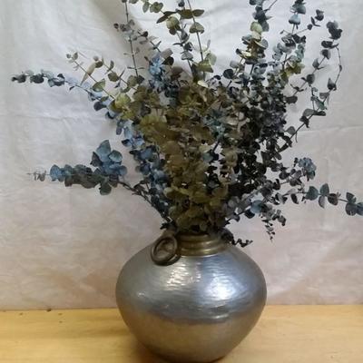 Pewter Vase with Eucalyptus