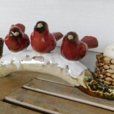 Winter Scene Ceramic Candle Holder with Cardinals and Pine Cones 12