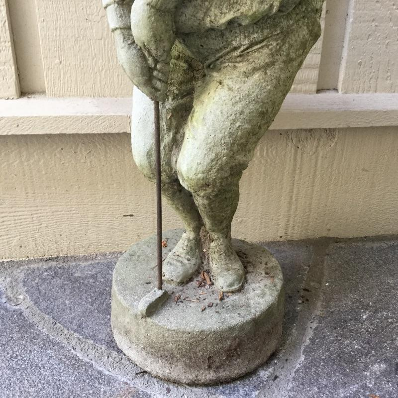 "This ""Grumpy Golfer "" yard art Statue is made of heavy, solid  concrete and the golf club is made of metal. There is a hairline crack on the back of his leg. 8.5"" wide by 23.5"" high  Item is for pick up only in Flat Rock, NC, No Shipping."