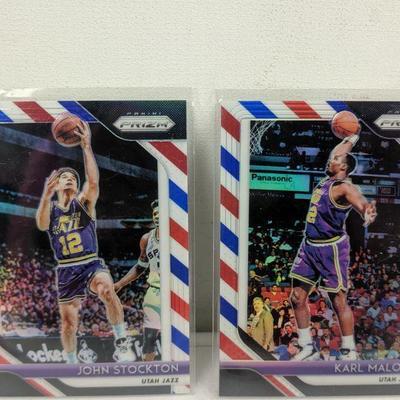 Prizm Utah Jazz Basketball Cards: John Stockton, Karl Malone - New