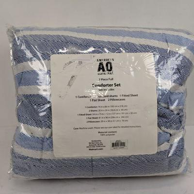 American Original Comforter Set, 7- Piece Full, Blue/White - New