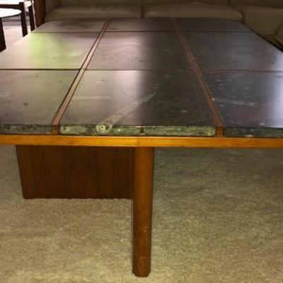 Modernism Fossil Top Table with Teak Base