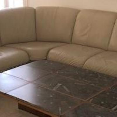 Ekornes Leather Sectional (Off white in color)