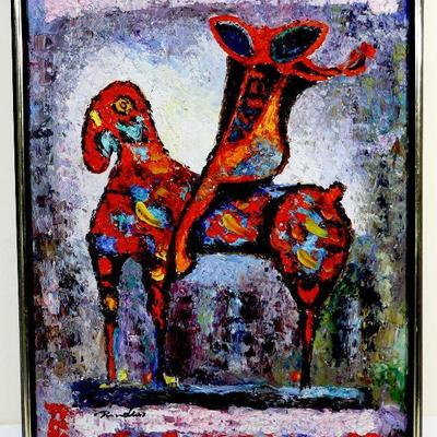 Original Oil Painting - Red Horse/Horse and Rider after Marino Marini, on Canvas