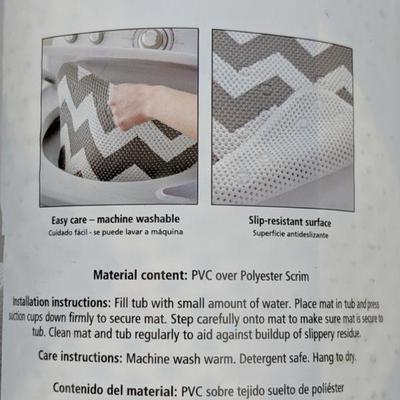 InterDesign Fabric Shower Curtain & Mainstays Cushioned Bath Mat - New