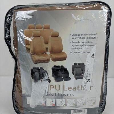 FH Group PU Leather Seat Covers, Tan - New