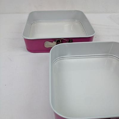 Pink/White Spring Form Pans, Set of 2 - New