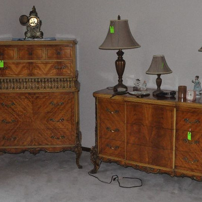 Antique French Twin Bed Set/Gentlemens Dresser/Bureau with mirror
