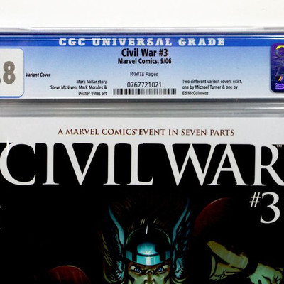 CIVIL WAR #3 The Mighty THOR CGC 9.8 Variant Cover Marvel Comics 2006