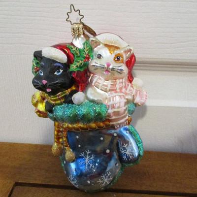 Christopher Radko Christmas Mitten Sittin' Kittens Ornament
