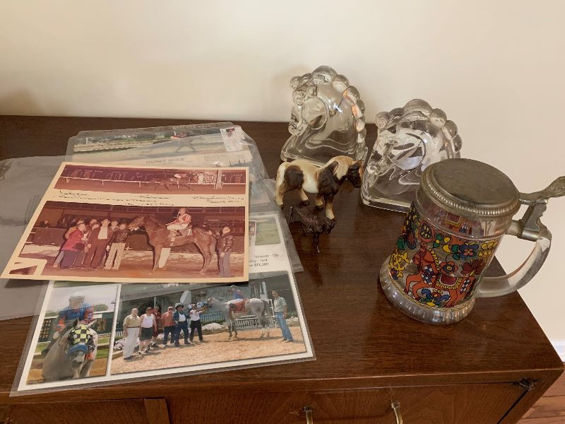 Glass horse bookends Stein from Germany Heavy metal horse and ceramic little one 3 race pictures and two music sheets with horse/cowboy theme (1935 & 1940)