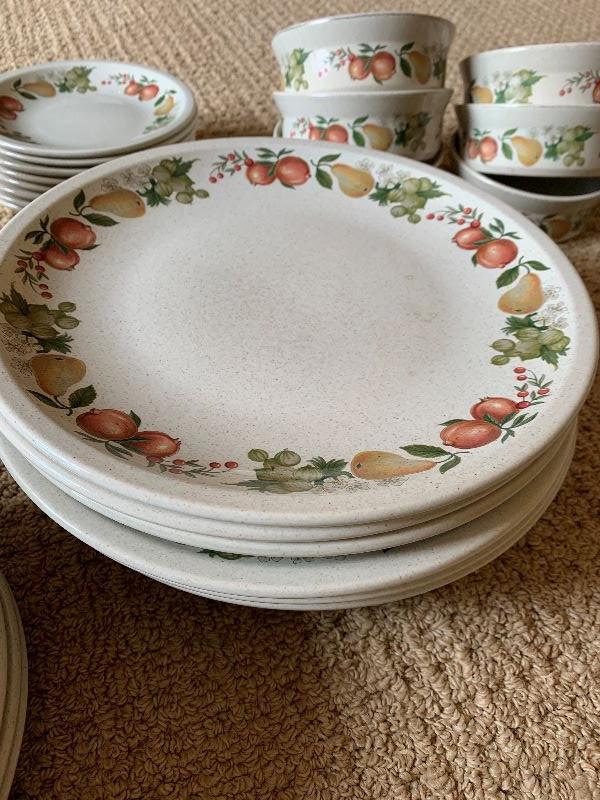 11 dinner plates, 10 lunch plates, 12 bowls, 8 dessert plates and 6 serving ramekin type bowls
